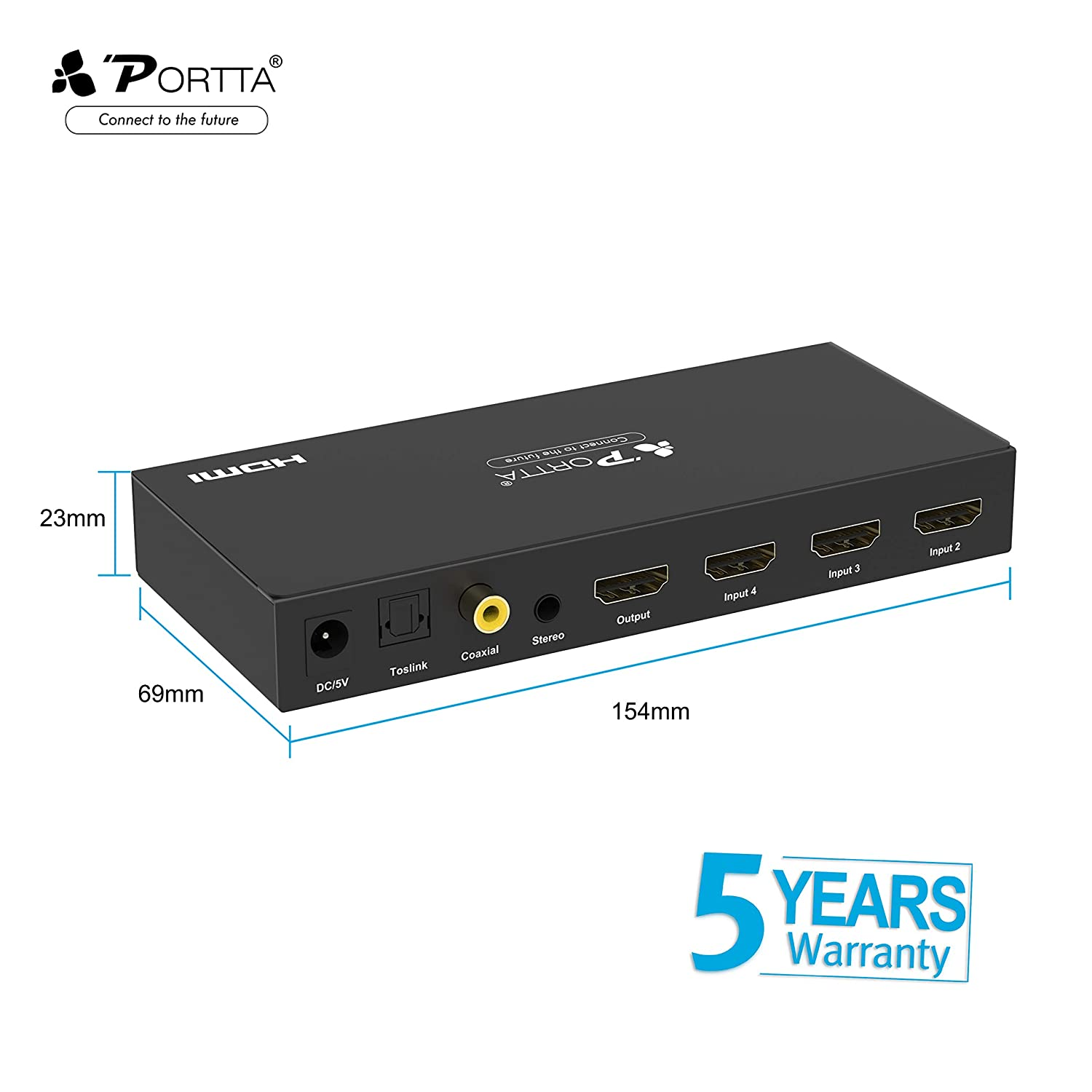 Portta HDMI Switch 4-Port HDMI Switcher Box v1 3 with Remote Control Stereo  Audio Optical TOSLINK and Digital Coaxial Out Support 3D HDCP 1080P for