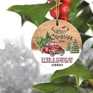 Merry Christmas Tree Decorations Ornaments 2020 - Ornament Hometown Millbury Ohio OH State - Keepsake Gift Ideas Ornament 3