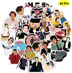 50 Pcs Pop Singer Harry Styles Stickers, Waterproof Durable Trendy Vinyl Stickers for Laptop Decals Hydro Flask and Water Bottles, Teens and Adults Gift