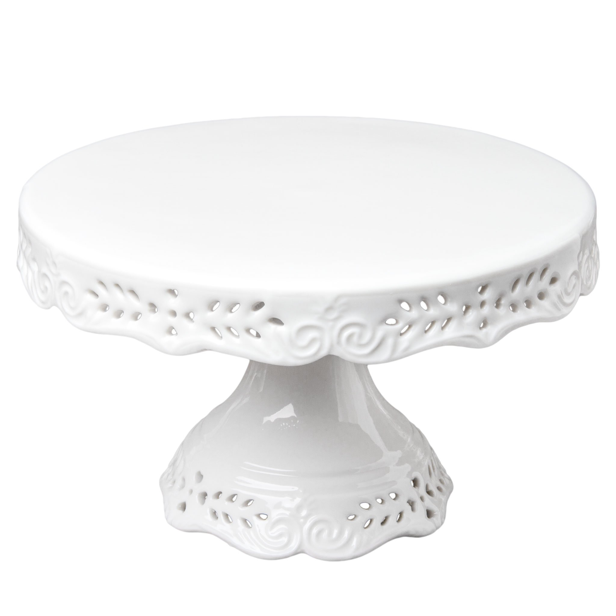 Gracie China 10-Inch Victorian Rose Fine Porcelain Round Pedestal Cake Stand Off White