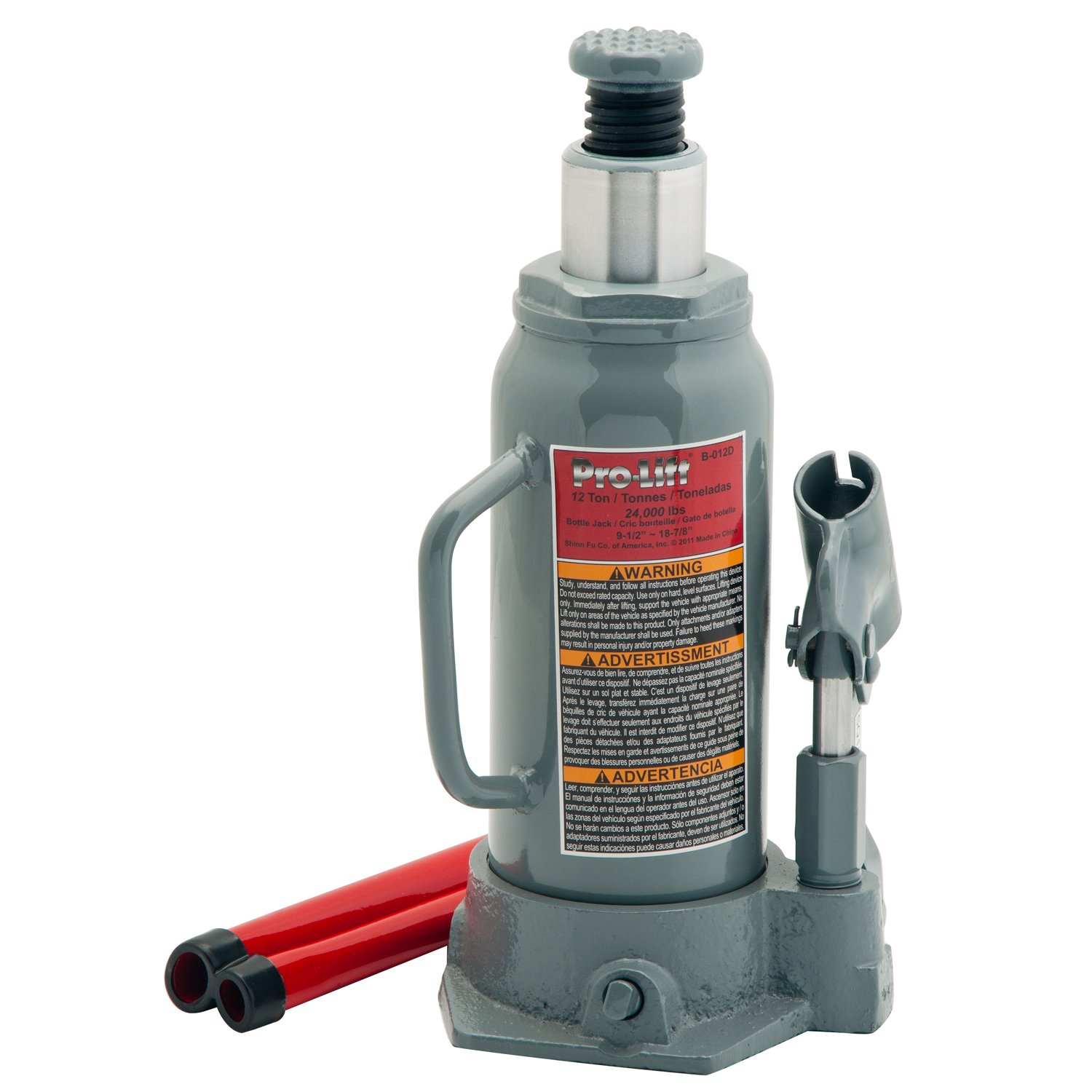Pro-LifT B-S12D Grey Hydraulic Bottle Jack - 12 Ton Capacity