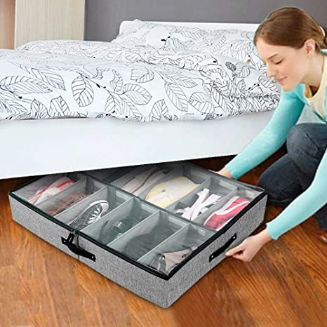 Sturdy Underbed Shoe Storage.Fortgesche Under Bed Shoe Storage Organizer Adjustable Dividers 12 Pairs With Sturdy Sides And Bottom Clear Cover And Reinforced Handles Underbed