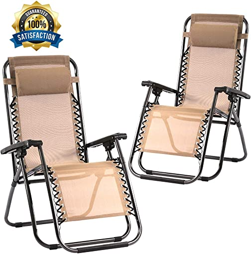 Zero Gravity Chair Patio Chair Lounge Chair Chaise Recliner 2 Pack Outdoor Folding Adjustable Heavy Duty Zero Gravity Chair with Pillows for Patio, Pool, Beach, Lawn, Deck, Yard – Tan