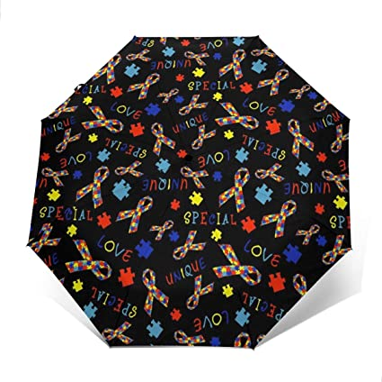 Umineux Auto Open Close Umbrella Windproof Folding Umbrella for Women Men Compact Sun/&Rain 10 Ribs Umbrellas with Travel Case