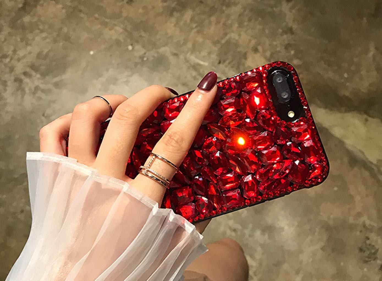 Homikon Grand Diamant de Luxe Silicone Coque Bling Brillante Paillette Strass Etui Transparent TPU Bumper Hard Plastique PC Housse Crystal Clear Case /Étui pour Samsung Galaxy Note 9 Rouge
