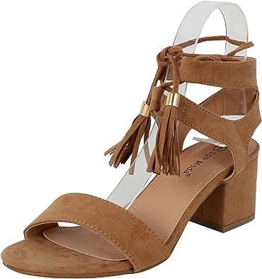 TOP Moda Women's Tassel Stacked Block Heel Gladiator Sandal (5.5 B(M) US, Tan)