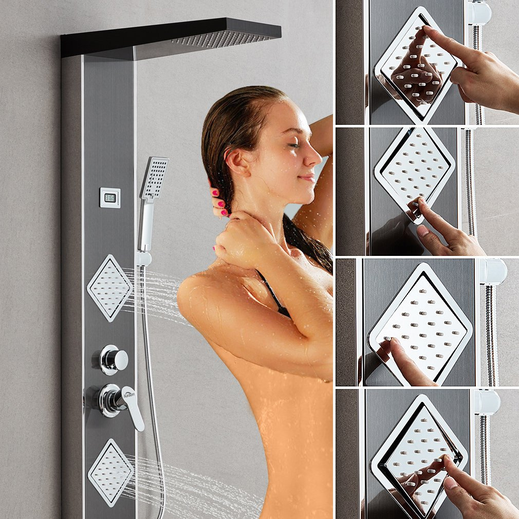 Auralum/®Pannello Doccia Nero Con 3 Funzioni Di Uscita Dellacqua Set Doccia In Acciaio Inox 304 Con Display LCD Della Temperatura,125x20x50CM