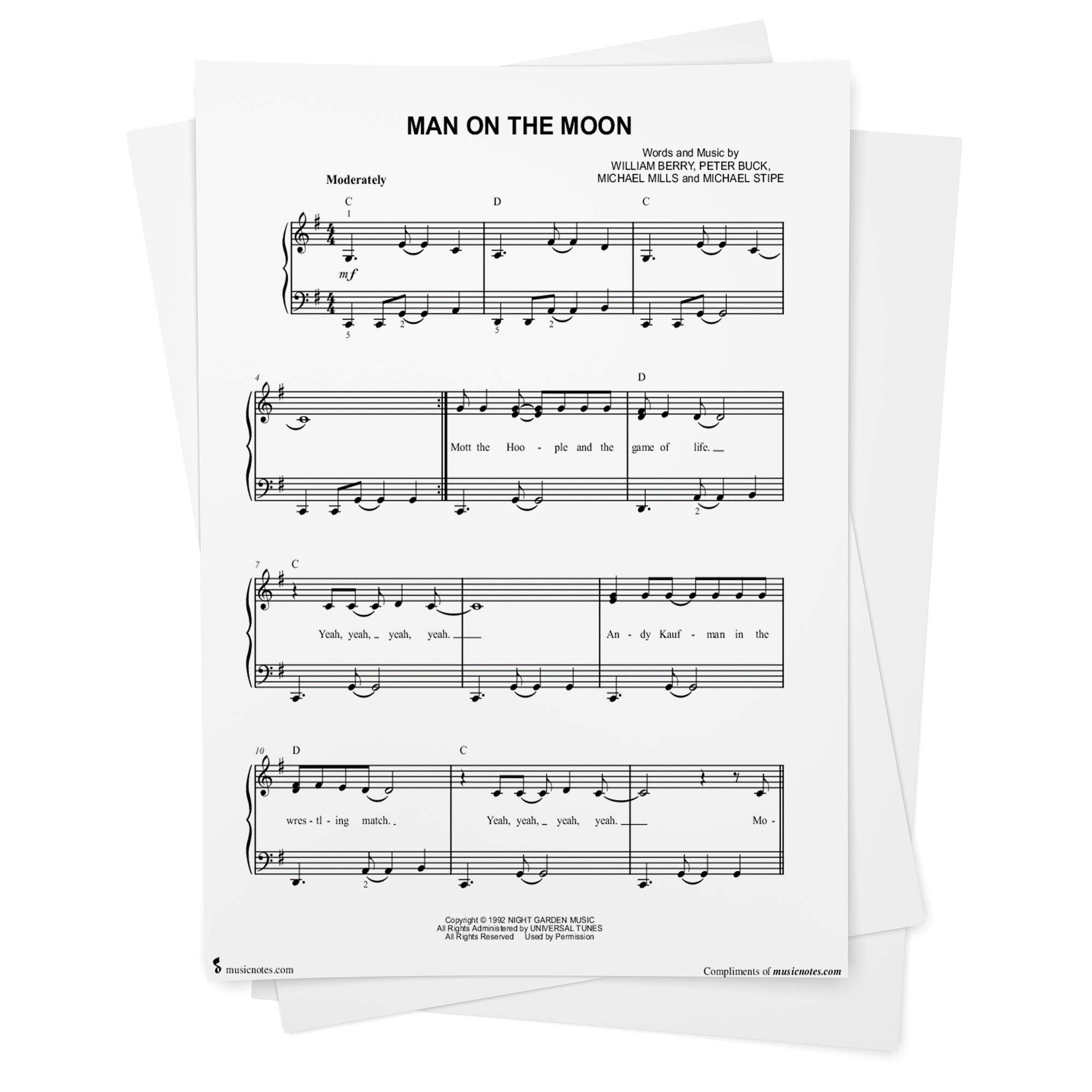 man on the moon sheet music by r.e.m. - easy piano from musicnotes: r.e.m.,  r.e.m., bill berry: amazon.com: books  amazon