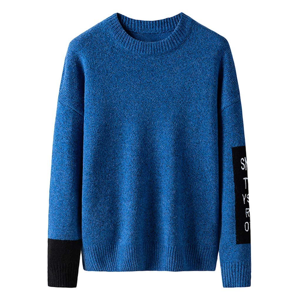 wuliLINL Men's Casual O Neck Loose Fit Knit Sweater Pullover Top(Blue,XXXL) by wuliLINL