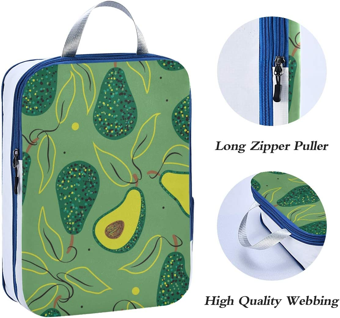 a3 Avocado Pattern 3 Set Packing Cubes,2 Various Sizes Travel Luggage Packing Organizers