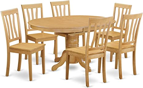 Amazon Com East West Furniture 7 Pcs Dining Room Table Set 6 Great Wood Chairs A Wonderful Round Wooden Dining Table Wooden Seat And Oak Butterfly Leaf Round Kitchen Table Table