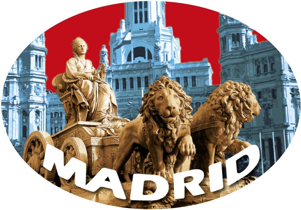 Sticker Oval Cibeles Madrid in den Himmel