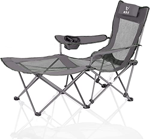 Camping Chair with Footrest Mesh Folding Lawn Chairs Reclining with Removable Pillow Cup Holder for Outdoor Beach Pool Heavy Duty 300 lbs Capacity