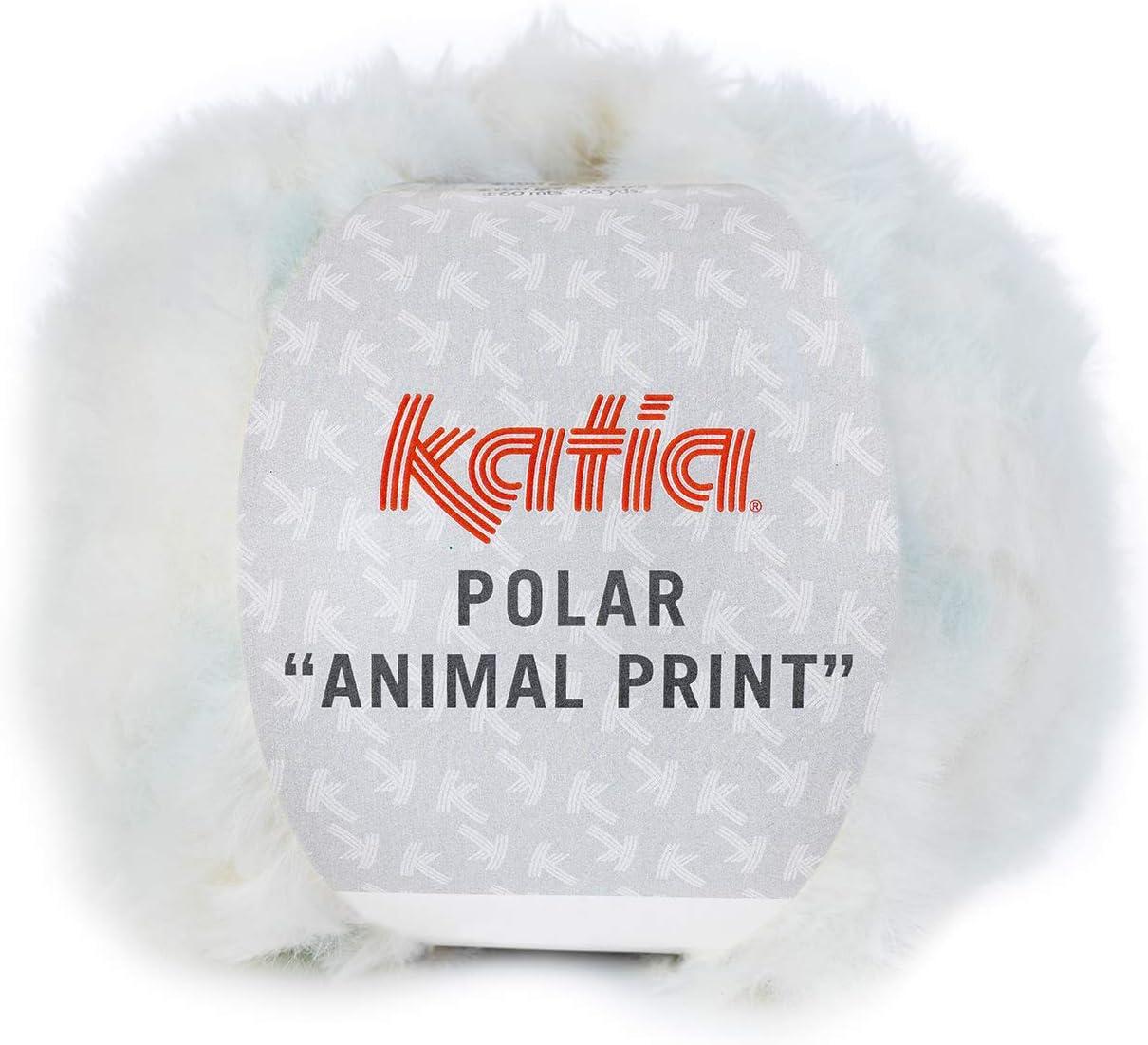 60 M Laine - 100 g//Env 203 Polaire Animal Print de Katia-Crudo//CELESTE BÉBÉ