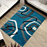 """Designer Rugs For Living Room - MALAYSIA COLLECTION - Blue With Mosaic Pattern - Soft And Beautiful Carpet - Many Sizes - Best Price And Quality Offer 140 x 190 cm (4ft7"""" x 6ft3"""")"""