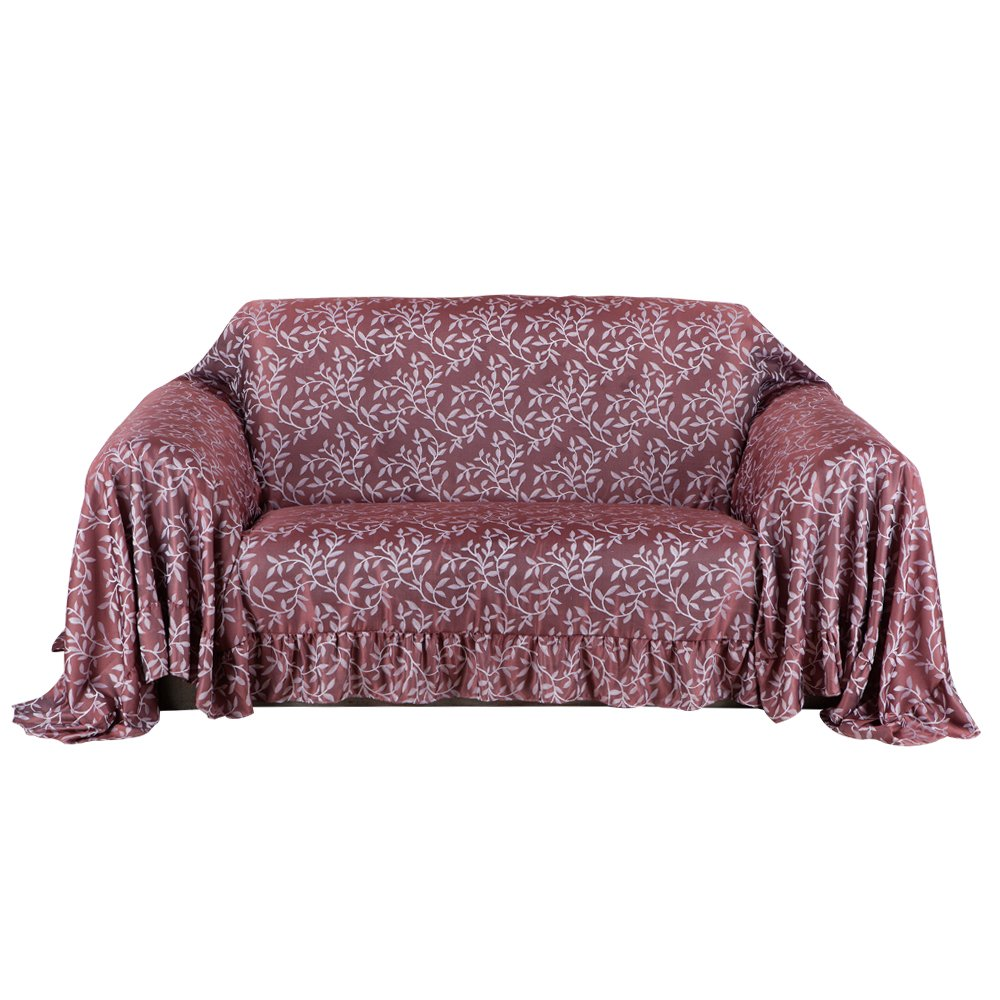 Valea Home Sofa Throw Covers 1 Piece Furniture Protector Slipcovers for Home Decorative,Burgundy