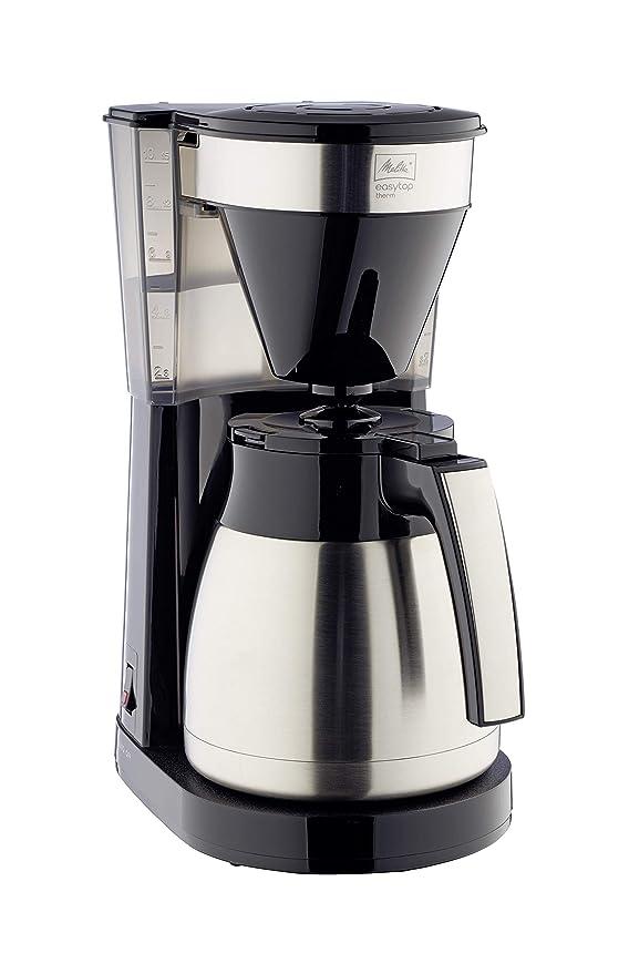 Melitta INOX Cafetera de Goteo Therm II con Jarra Isotérmica, Función Easy Click, 1L de Capacidad, Acero Inoxidable y Negra, 1023-10, 1050 W, 1 Liter