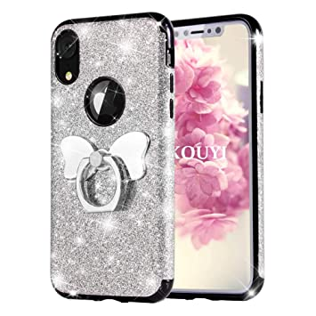 watch d1fe7 99478 KOUYI iPhone XR Case, [Glitter 3 in 1 Series] Luxury Fashion Glitter  Sparkle Shiny Bling Diamond Protective Case Cover with Butterfly Ring Grip  Holder ...