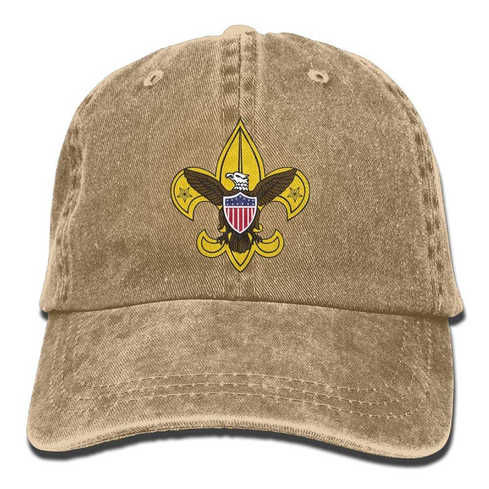 SFT Unisex Boy Scout Fleur De Lis Dyed Washed Denim Cotton Baseball Cap Hat Natural by SFT