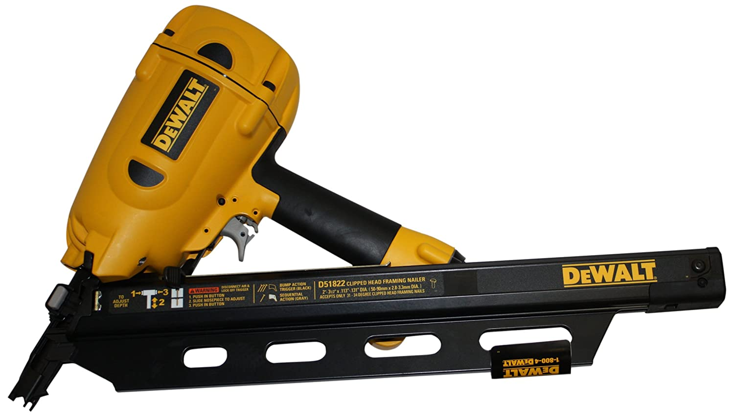Dewalt D51822 Clipped Head 2-Inch To 3-1/2-Inch Framing Nailer ...