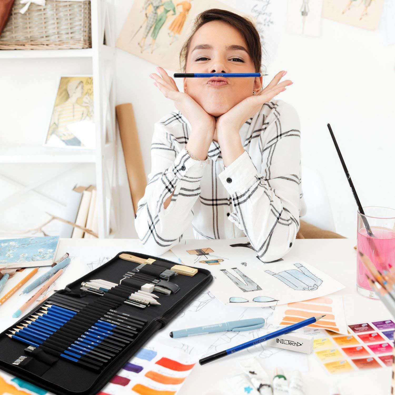 Fornire a Artista Professionale e Principianti. Gropwin 33 Pezzi Set di Matita Professionale Set di Grafite di Carbonio Matite di Legno
