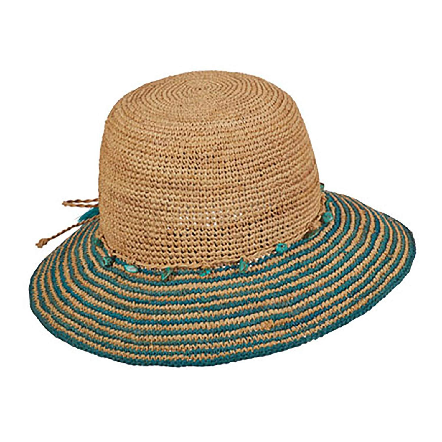 Tommy Bahama Womens Raffia Bucket Hat with Turquoise Trim (Turquoise, One Size)