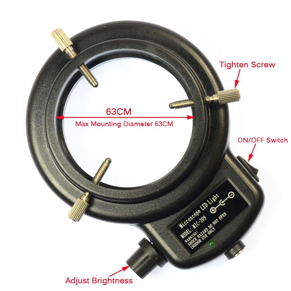 Black 144 LED Bulb Microscope Ring Light Illuminator Adjustable Bright Lamp + Adapter by Aihome (Image #4)