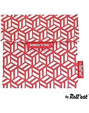 Rolleat Snack'n'Go Tiles - Porta Meriendas Reutilizable Libre de BPA - Color Rojo