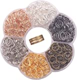 """YAKA 900Pcs 9mm1Box 6 Colors Open Jump Ring,Ring Jewelry Keychain for Jewelry Making Accessories,1Pcc Jump Ring Open/Close Tool and 1Pcs Clear Box (0.35""""/9mm)"""