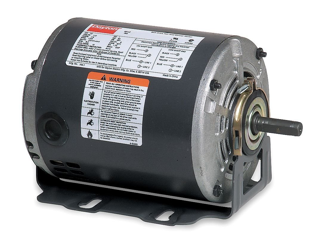 Dayton 4K259 Motor, 1/2 hp, 60Hz, Belt, Degrees_Fahrenheit, to Volts, Amps, (