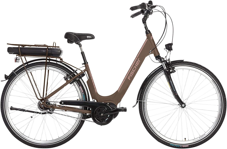 Bicicleta eléctrica Fischer City City City 3.0, color moca mate, 28 pulgadas, RH 44 cm, motor central 50 Nm, batería de 36 V en el marco: Amazon.es: Deportes y aire libre
