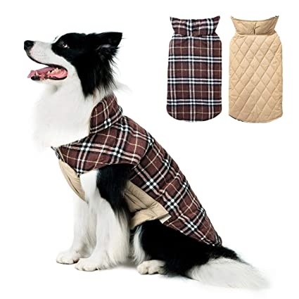 bfab1ed00165 TPHC Dog Jacket Cozy Waterproof Windproof Reversible British Style Plaid Dog  Vest Winter Coat Warm Dog Apparel Cold Weather Dog Small Medium Large Dogs
