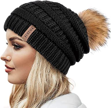 New Womens Warm Wool Cable Knitted Fur Pom Beanie Bobble Ski Hat Winter Cap