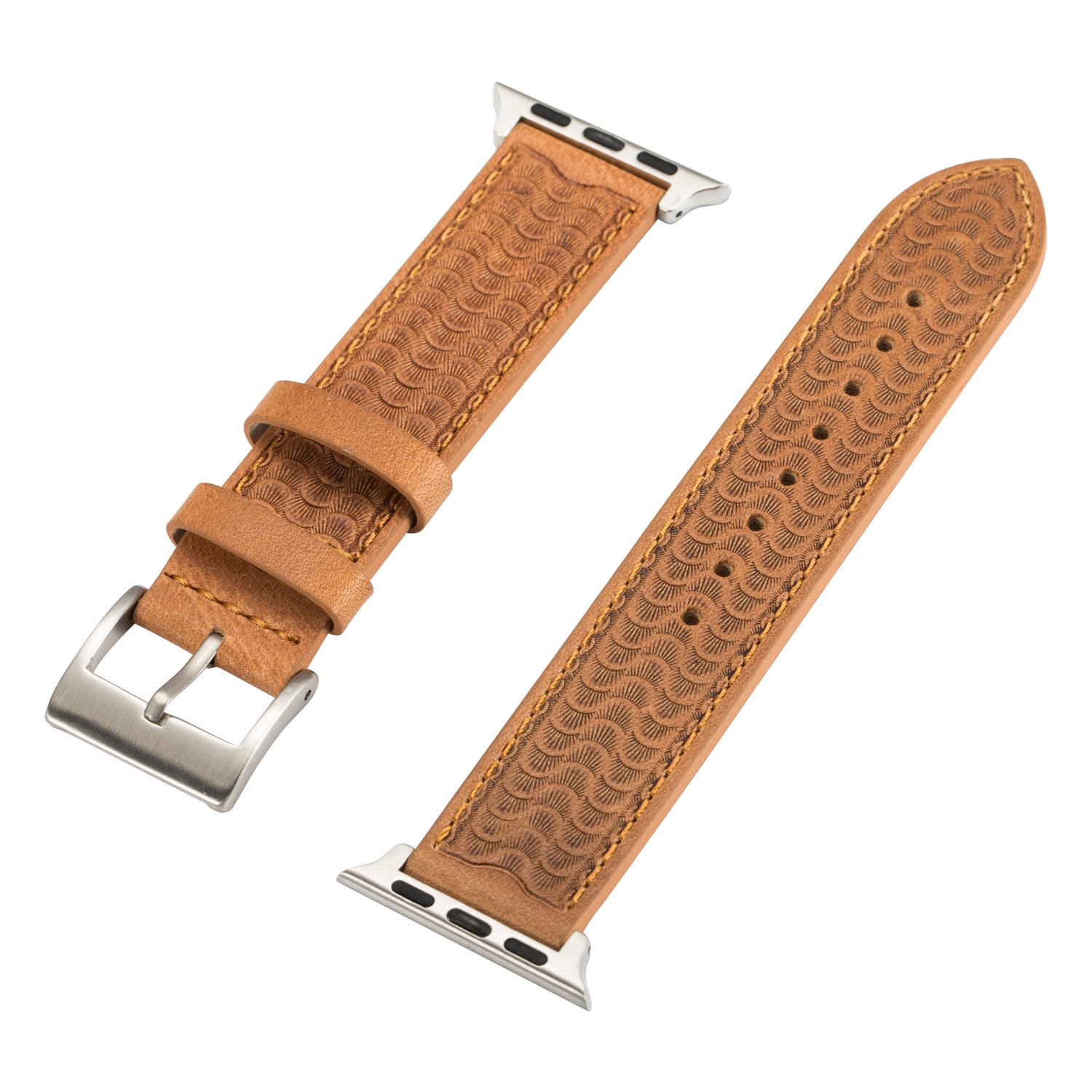 NUOYOU Apple Watch band 42mm for iWatch 42mm, Genuine Leather Relief iWatch Band Strap Stainless Metal Buckle for Apple Watch Series 3, Series 2, Series 1, Sport & Edition (Khaki,42mm)