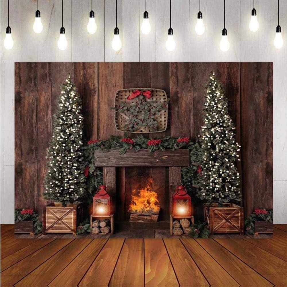 Tabla de Fondo Decoración de Navidad árbol Retro Vintage Estufa de Pared de Madera Estudio de Navidad Telón de Fondo de fotografía de Vinilo Papel de telón de Fondo de fotomatón Fondo de EST