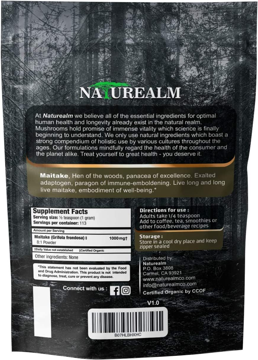 Maitake Mushroom Extract Powder – Natural Adaptogen Supplement – Immune Support, Blood Sugar Regulation, Cellular Health – 100 Whole Mushrooms – USDA Certified Organic – 4oz. 113g