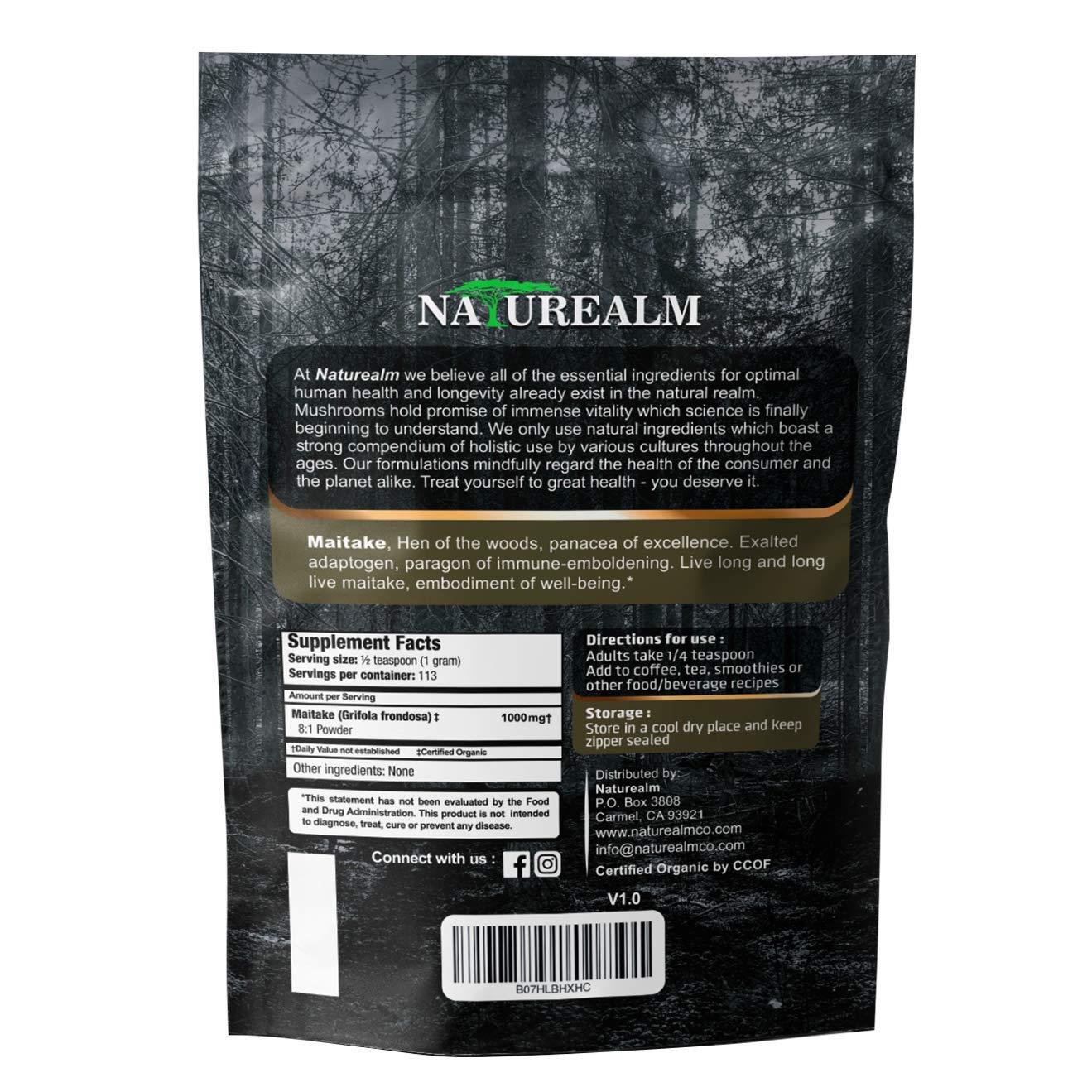 Maitake Mushroom Extract Powder – Natural Adaptogen Supplement – Immune Support, Blood Sugar Regulation, Cellular Health – 100 Whole Mushrooms – USDA Certified Organic – 4oz. 113g