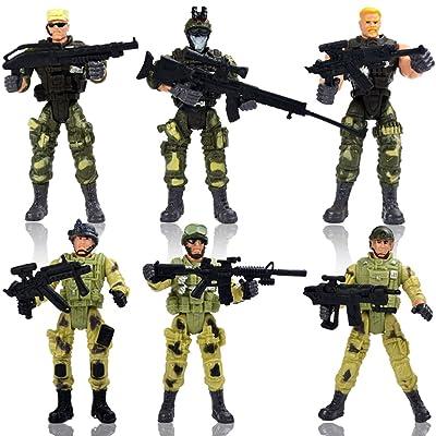6 Pcs Grande Figurine d'Action Jouet de soldats avec arme / Figures militaires Ensembles