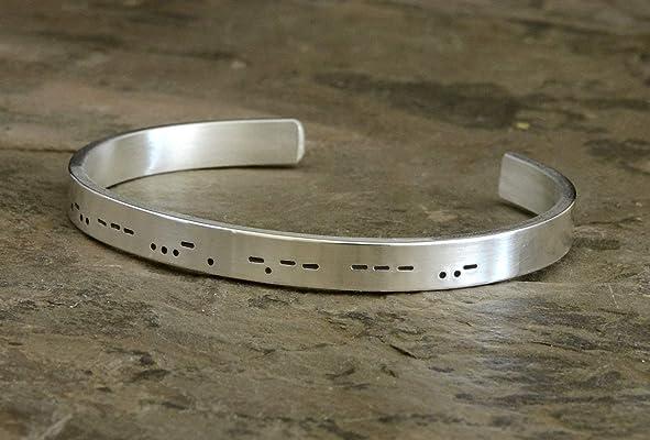Personalized Morse Code Sterling Silver Cuff Bracelet