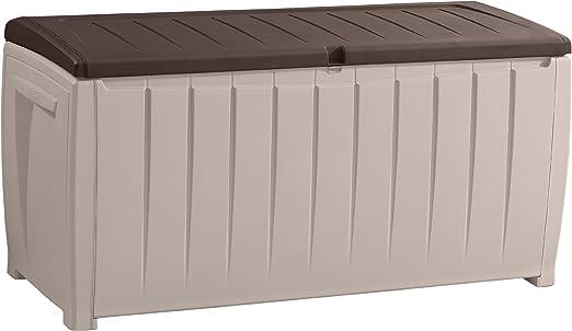 Keter 6007N Novel - Arcón Multiusos, con Posibilidad de Uso como Asiento, 340 L, Color Beige y marrón: Amazon.es: Jardín
