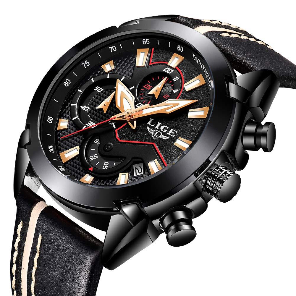 Relojes Hombre Moda Reloj Cuarzo analógico Marca Lujo LIGE Reloj de Pulsera clásico para Hombre Acero Inoxidable Malla Watces Oro Negro…