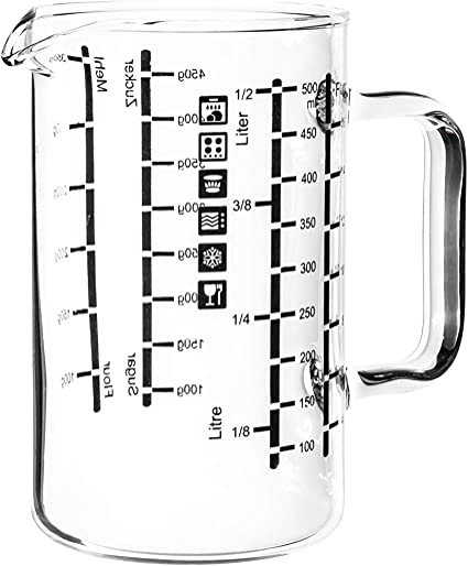Simax Glass Measuring Cup Durable Borosilicate Glass Easy To Read Metric Measurements Liter Milliliter Ounce Sugar Grams Flour Grams Drip Free Spout Microwave And Dishwasher Safe 16 Ounce Amazon Co Uk Kitchen Home
