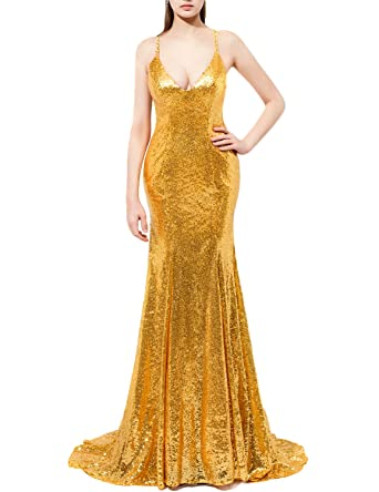 JoJoBridal Womens Long Sequins Prom Dresses Formal Evening Gowns Gold Size 2