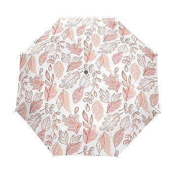 U LIFE Vintage Floral hojas de otoño Auto Abrir Cerrar paraguas de Golf resistente al viento
