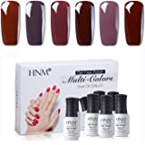 Gel Nail Polish HNM 6 Colors Combo UV LED Soak Off Nail Art Manicure Salon Gift Set Starter Kits Coffee Brown Color Series 8ML