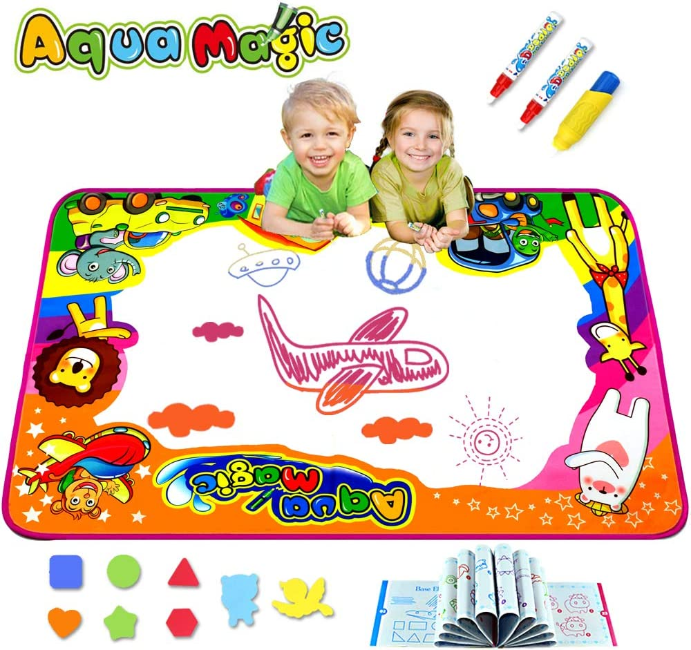 """7 Stencils 4 Pens Educational Early Learning Toy Large Size Kids Aqua Magic Water Doodle Drawing Mat Mess Free Coloring and Painting Large Play Area for Drawing AquaMagic Water Doodle Mat for Kids 31/"""" x 31/"""" Writing"""