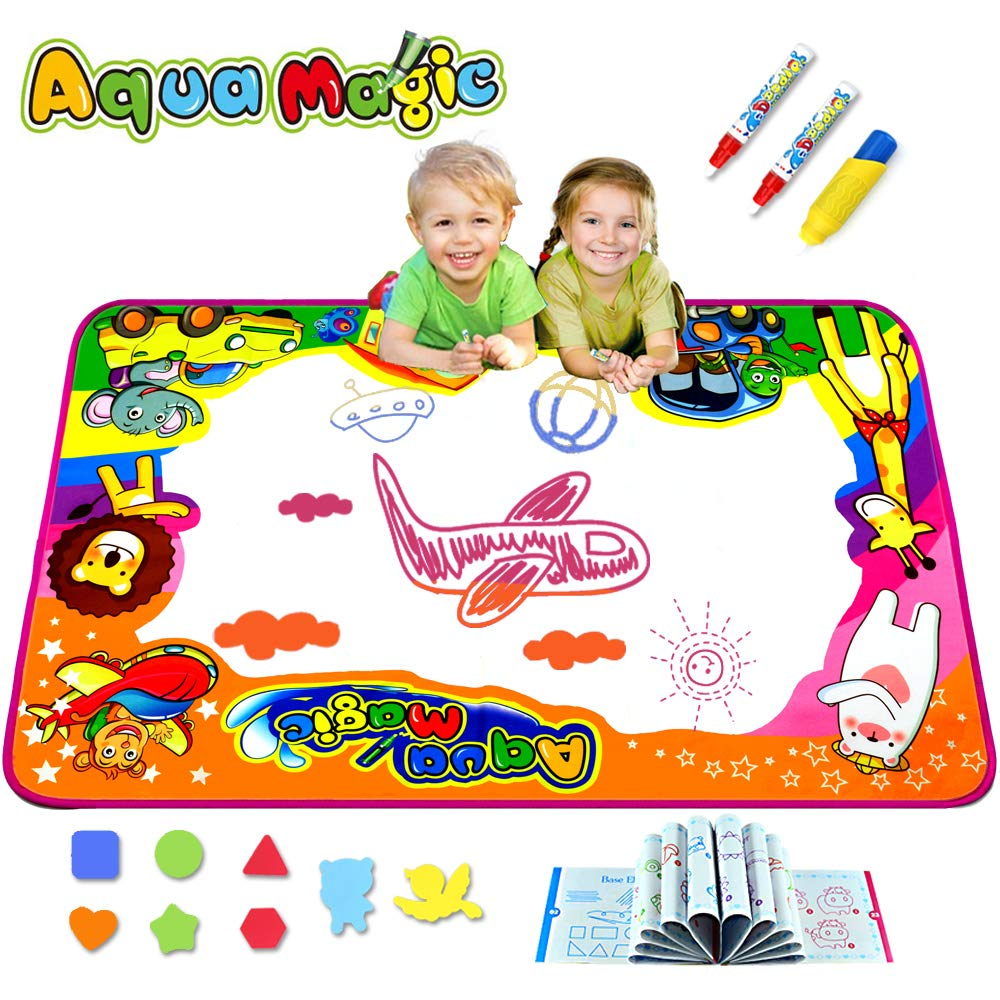 Kulariworld Aqua Magic Doodle Mats Toys for Kids Toddlers Paint Water Drawing Mat Educational Toy Large Size for Boys Girls Gift Age 2,3,4,5,6 Year Old 34.6'' X 22.8'' by Kulariworld