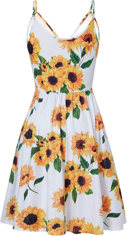 RAISEVERN Womens V Neck Dress Adjustable Spaghetti Strap Dresses Summer Hawaiian Flared Swing Dress