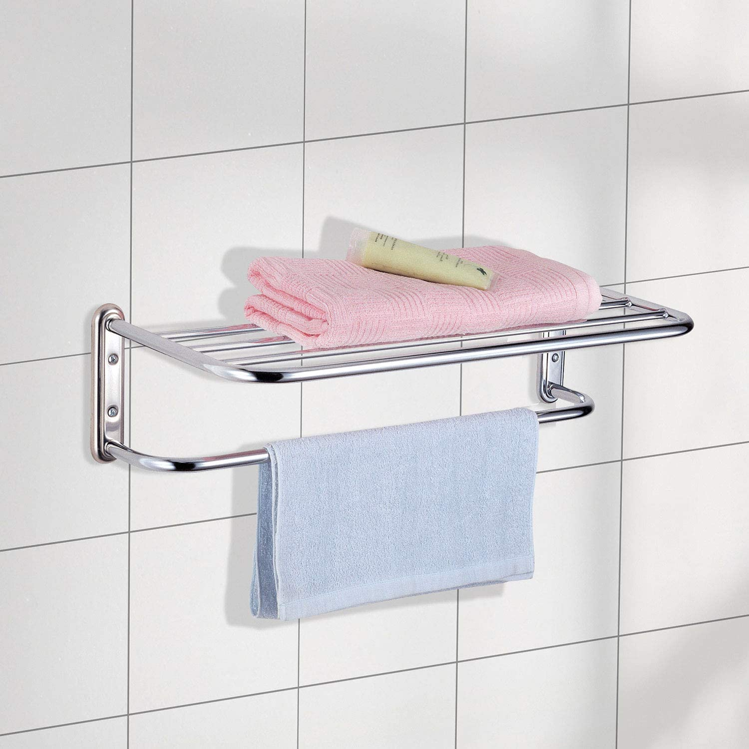 Chrome Wall Mounted Bathroom Towel Holder Shelf Rack by Top Home Solutions