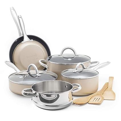 9236da1e2c7e Amazon.com: GreenPan CC001916-001 Lima Bronze 12pc Ceramic Non-Stick  Cookware Set: Kitchen & Dining